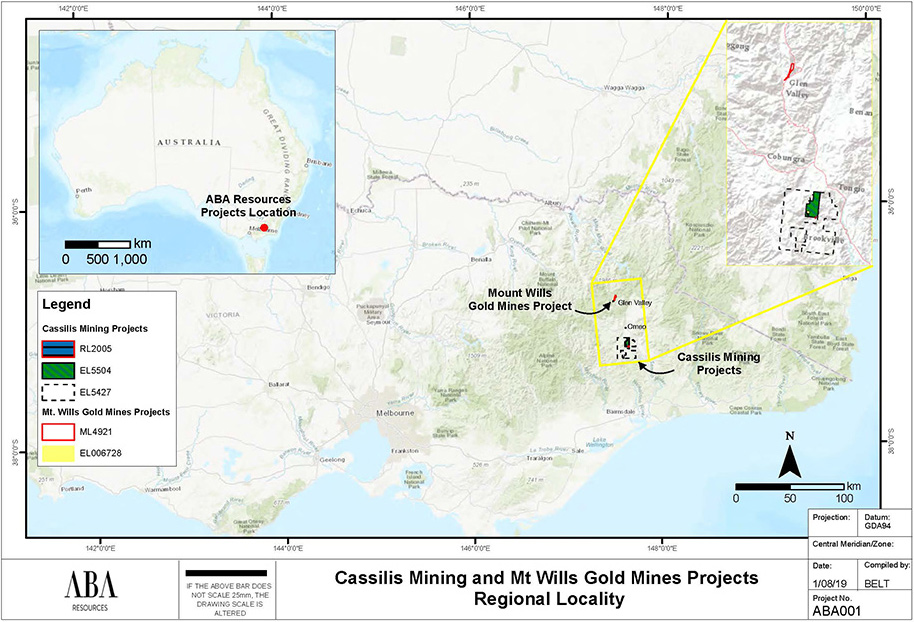 Cassilis Mining and Mt Wills Gold Mines Regional Locality Map